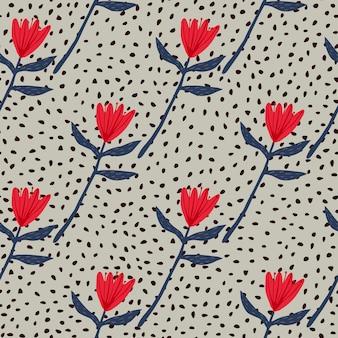 Бесшовный цветочный образец тюльпана в красных и темно-синих тонах. серый фон с точками. простой дизайн.