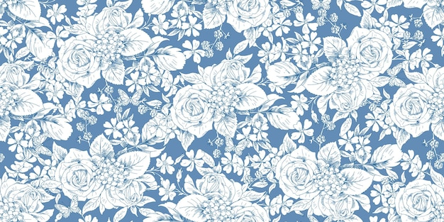 Seamless floral vintage pattern with rose bouquets for spring dress fabrics