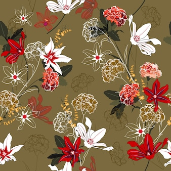 Seamless floral with bouquets of wild flowers.