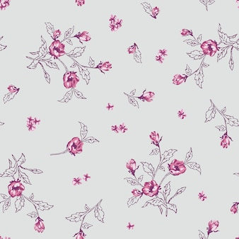 Seamless floral with small flowers pattern.