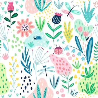 Seamless flourish pattern with field flowers plants butterfly and other elements cute hand drawn background