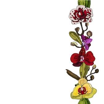 Бесшовные цветочные кисти. поздравительная открытка. место для вашего текста. цветущие орхидеи.
