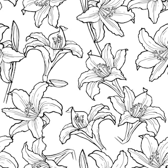 Seamless flower pattern background with lily flower and leaf drawing illustration.