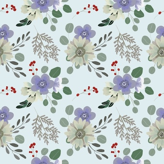 Seamless flower pattern of eucalyptus leaves and anemone