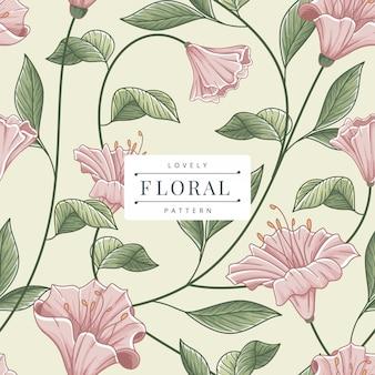 シームレスな花と葉のパターンテンプレート