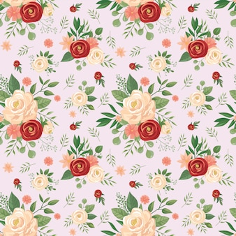 Seamless flowers pattern. floral print, rose flower buds and roses vector background illustration
