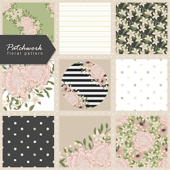 Seamless flowers pattern. patchwork
