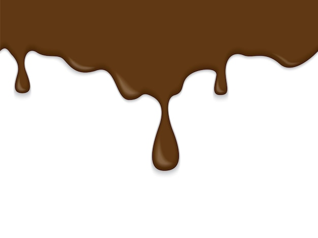 白い背景の上のシームレスな流れるチョコレートの質感