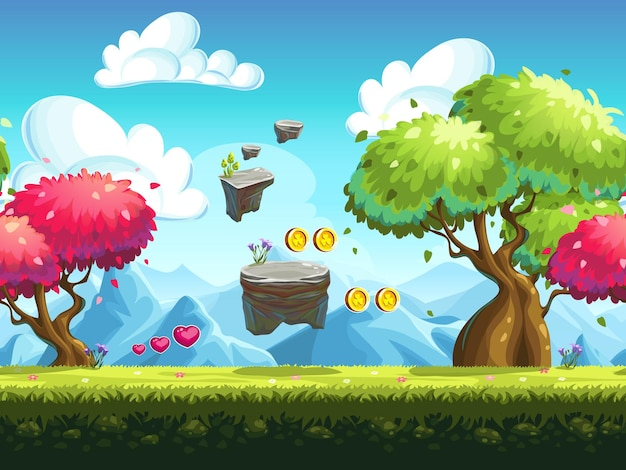 Seamless flying rocks and colorful trees in forest against the backdrop of  mountains