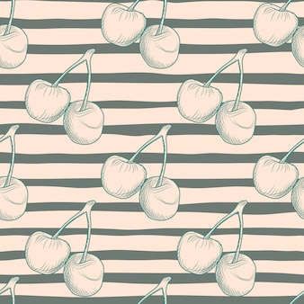 Бесшовный образец пищи с силуэтом ягод вишни. фон с черными полосами. подходит для текстиля, оберточной бумаги, обоев, тканевого принта. иллюстрации.