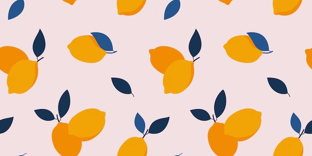 Seamless food pattern with yellow lemons and blue leaves. citrus fruits trendy hand drawn texture