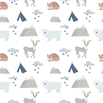 Seamless forest animals background with cute deer