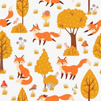 Seamless forest foxes pattern.