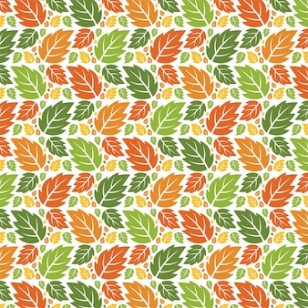 Seamless forest pattern autumn leaves.
