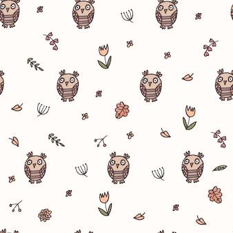 베이지색 음영의 어린이를 위한 올빼미와 함께 매끄러운 숲 패턴입니다.