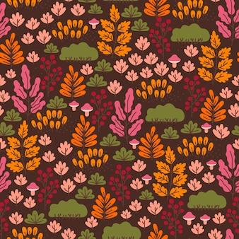 暗い背景にキノコ、果実、紅葉とのシームレスな森のパターン。秋の壁紙。