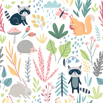 Seamless forest pattern with wild animals plants trees and other elements