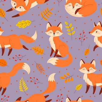 Seamless foxes pattern. autumn fox, cute orange animal poster.