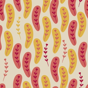 Seamless frabic pattern background with cute colourful doodle flower