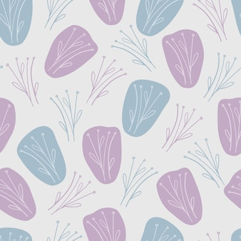 Seamless frabic pattern background with cute hand draw doodle flower