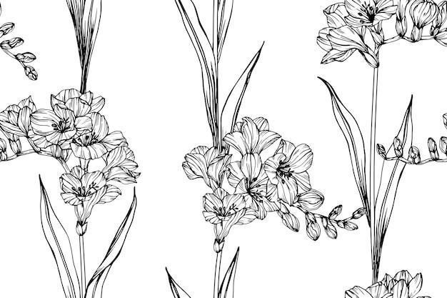 원활한 프리 지아 꽃 패턴 배경입니다.