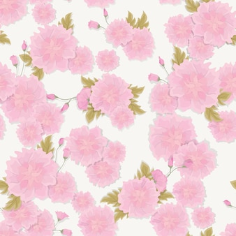 Seamless fresh floral pattern with pretty pink bougainvillea flowers and tropic leaves