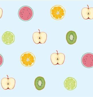 Seamless fresh fruites pattern on blue background