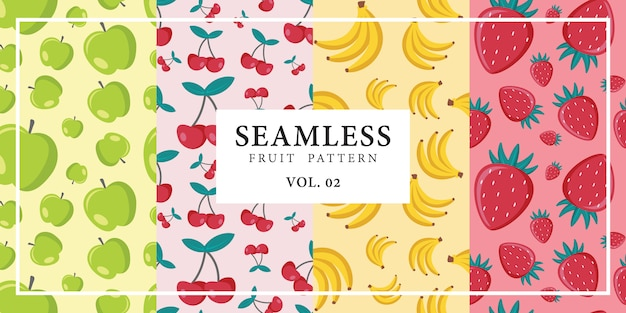 Seamless fruit pattern apple cherry banana strawberry vector illustration