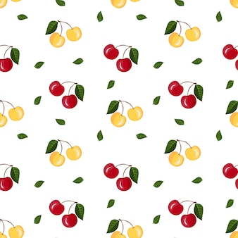 白い背景の葉と黄色の赤いサクランボのシームレスなフルーツパターン