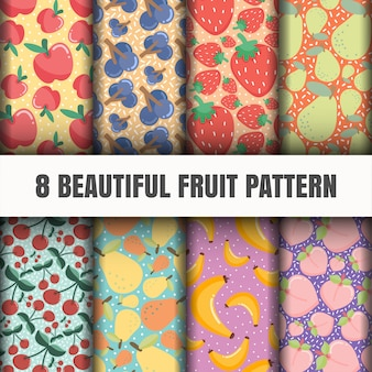Seamless fruit pattern set.