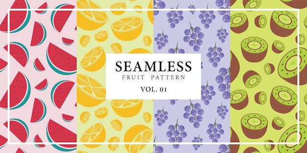 シームレスなフルーツパターンスイカオレンジグレープベクトルイラスト