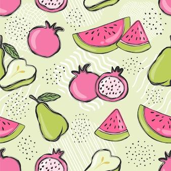 Бесшовный образец фруктов.