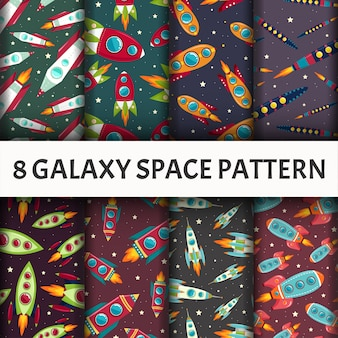 Seamless galaxy pattern set.