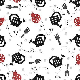白い背景に赤いミドムシとシルバードットの輝きのパターンとシームレスな庭のツール