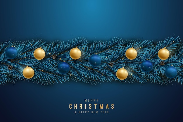 Seamless garland with realistic fir tree branches, lights and shiny baubles.