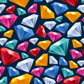 Seamless gemstones pattern on dark.