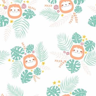 熱帯の葉の顔動物のナマケモノとシームレスな穏やかな幼稚なパターン。保育園手描きイラスト
