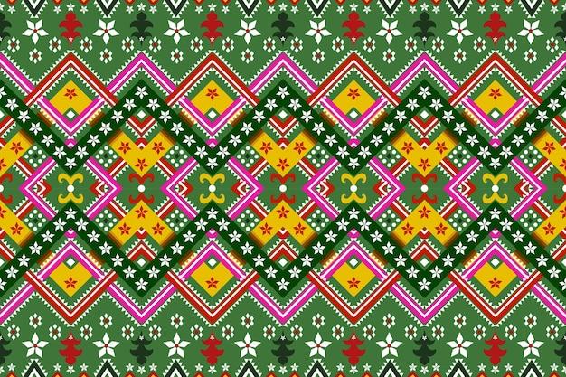 テクスチャとバッハグラウンドのためのシームレスな幾何学的な民族アジアの東洋と伝統のパターンデザイン。カーペット、衣類、クリスマス休暇のためのシルクとファブリックのパターン装飾。