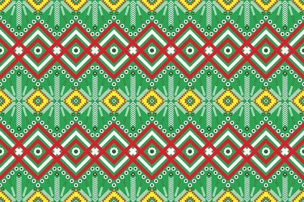 Бесшовный геометрический узор этнических азиатских восточных и традиционных для текстуры и фона. украшение шелком и тканью узоров для ковров, одежды, упаковки и новогодних обоев.