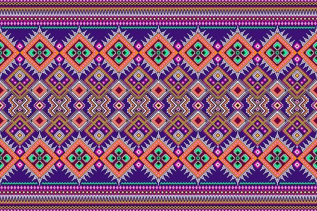 Бесшовный геометрический узор этнических азиатских восточных и традиционных для текстуры и фона. украшение шелком и тканью узоров для ковров, одежды, упаковки и обоев.