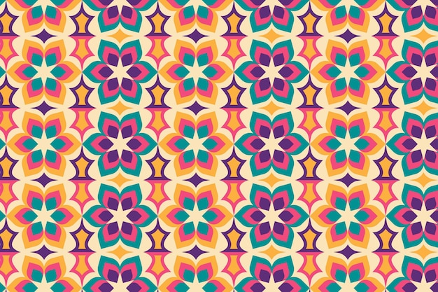 Seamless geometric floral groovy pattern texture