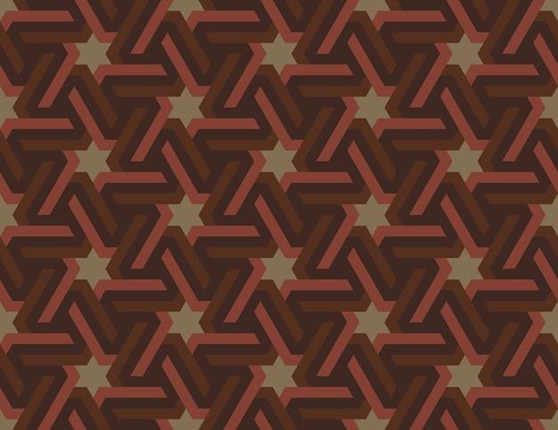 Бесшовный геометрический исламский орнамент с гексагональными звездами