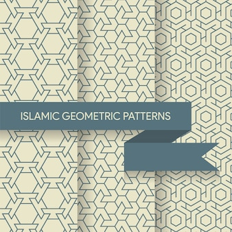 Seamless geometric islamic patterns textures collection