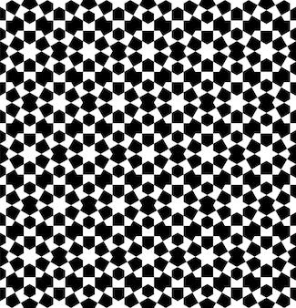 伝統的なイスラム美術に基づいたシームレスな幾何学的な装飾。黒と白。ファブリック、テキスタイル、カバー、包装紙、背景に最適なデザイン。
