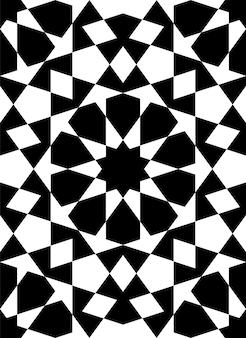 伝統的なイスラム美術に基づいたシームレスな幾何学的な装飾。黒い人物像