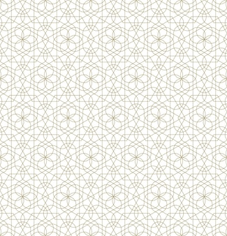 전통적인 이슬람 예술을 기반으로 한 원활한 기하학적 장식입니다. 브라운 컬러 라인입니다. 직물, 섬유, 커버, 포장지, 배경을 위한 훌륭한 디자인입니다.