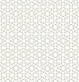伝統的なイスラム美術に基づいたシームレスな幾何学的な装飾。茶色の色の線。ファブリック、テキスタイル、カバー、包装紙、背景に最適なデザイン。細い線。