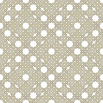 伝統的なイスラム美術に基づいたシームレスな幾何学的な装飾。茶色の色の線。ファブリック、テキスタイル、カバー、包装紙、背景に最適なデザイン。トリプルライン。