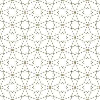伝統的なイスラム美術に基づいたシームレスな幾何学的な装飾。茶色の色の線。ファブリック、テキスタイル、カバー、包装紙、背景に最適なデザイン。