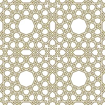 Бесшовный геометрический орнамент на основе традиционного исламского искусства. контурные линии.